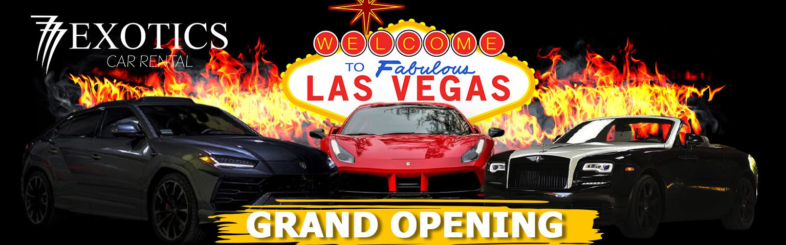 slider graphic for the announcement of 777 exotic and luxury car rental in las vegas grand opening