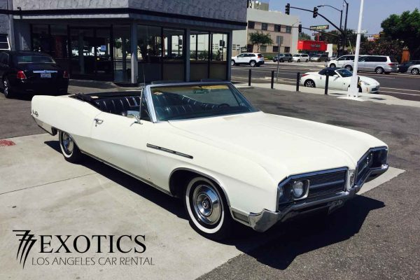 White Buick classic lot view rental LA