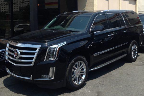 Black rental Cadillac Escalade LA