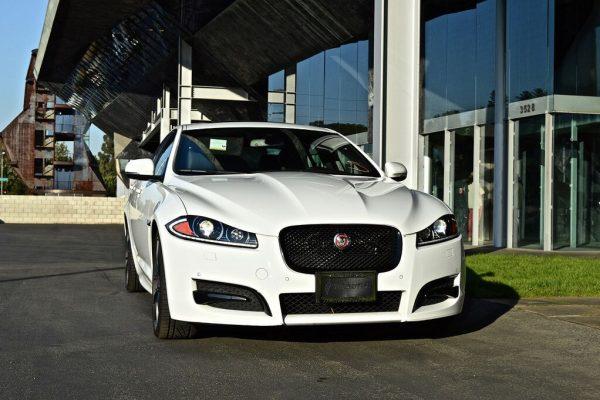 LA jaguar white Rental head on view