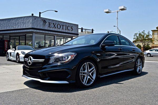 Mercedes black front view car rental LA