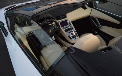 Front dashboard view of 777 Exotics lamborghini rental