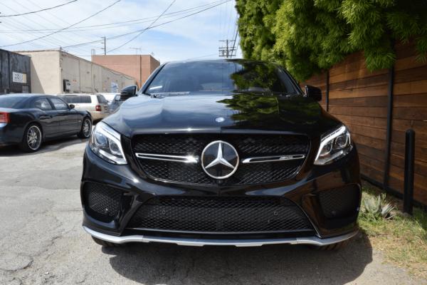 Head on black Mercedes Rental SoCal