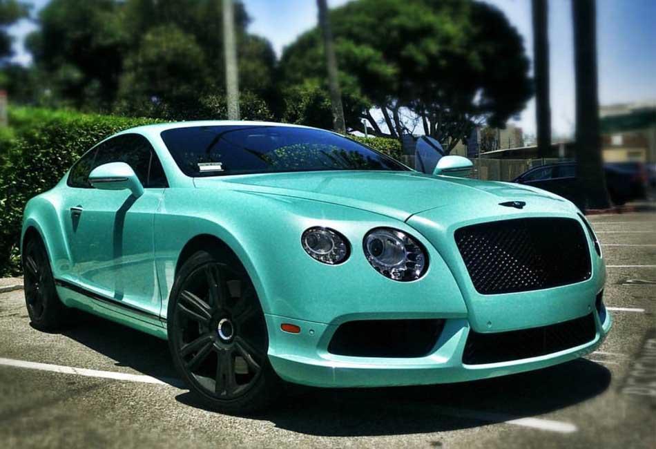 bentley continental gt tiffany blue  exotic car rental los angeles
