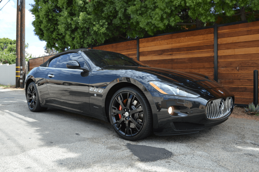 Front view of the black maserati convertible