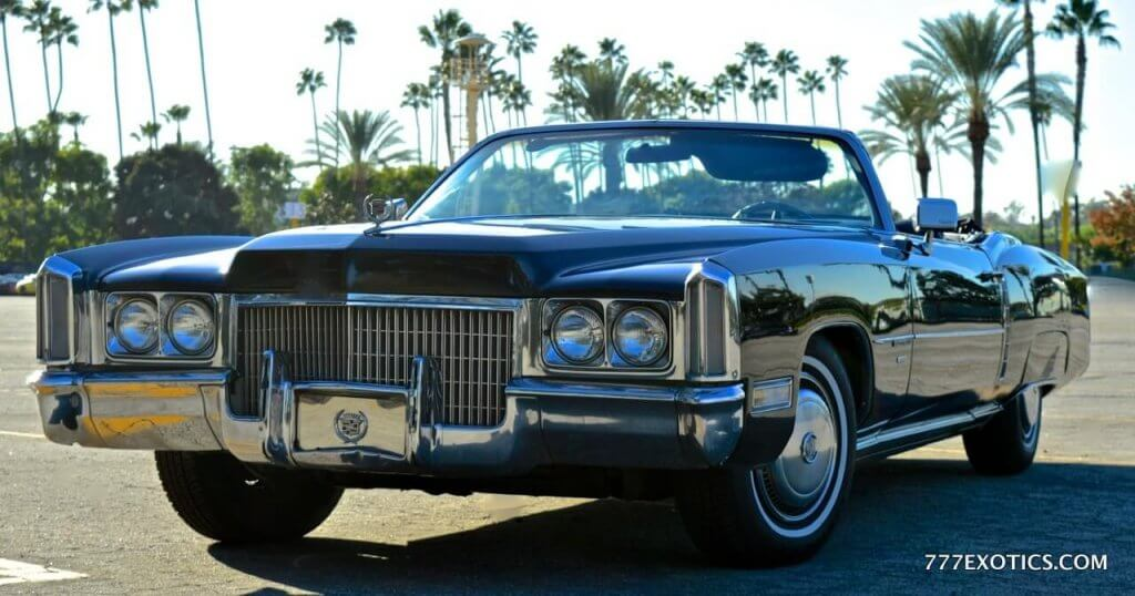 classic cadillac convertible black eldorado with top down in east ...