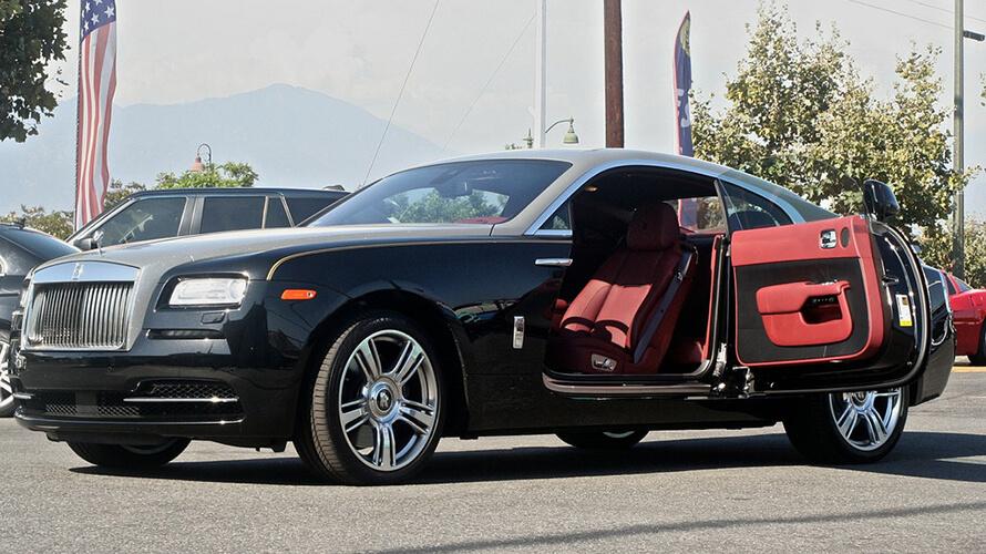 Rolls Royce Wraith Black Door Open 777 Exotic Car Rental
