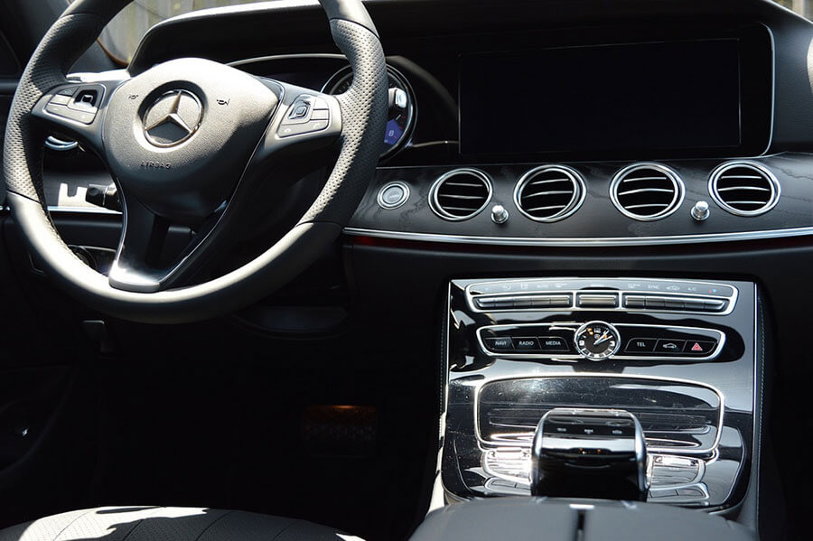 Steering and Dashboard view of Mercedes Benz E300