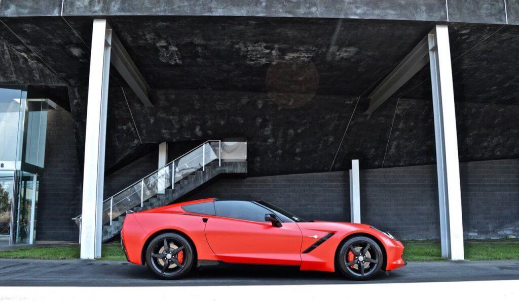 Exotics Red Chevrolette Corvette Side View