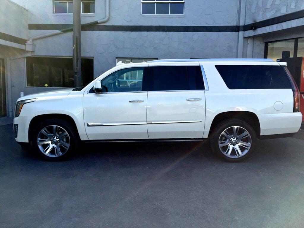 White Cadillac Escalade Rent of 777exotics Los Angeles California