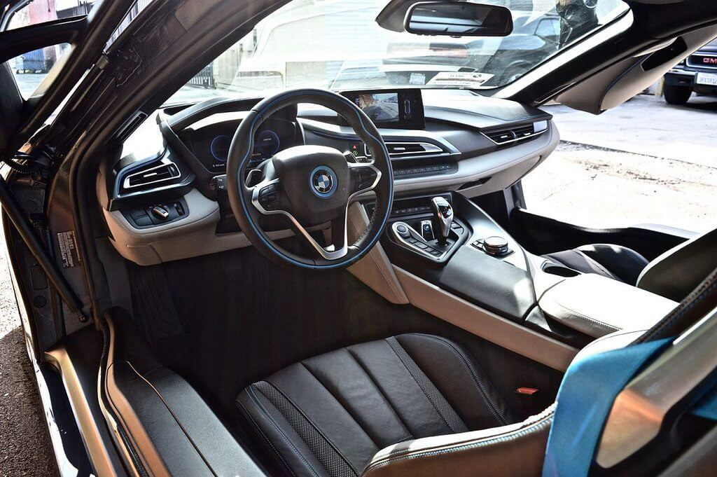 dark gray bmw i8 rental interior LA