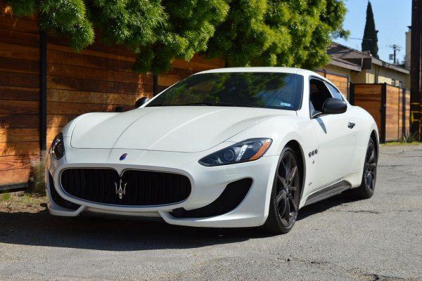 Angled front view white Maserati rental SoCal