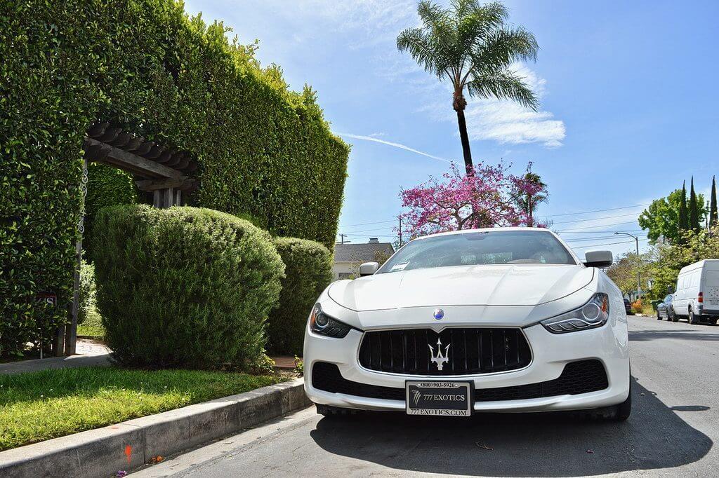 Maserati White Ghibli Rental LA 2 front view