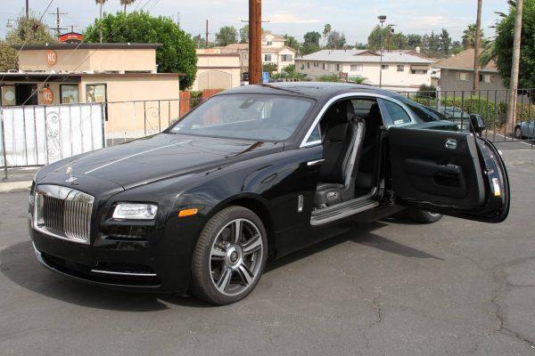 rolls royce wraith black rental doors open LA
