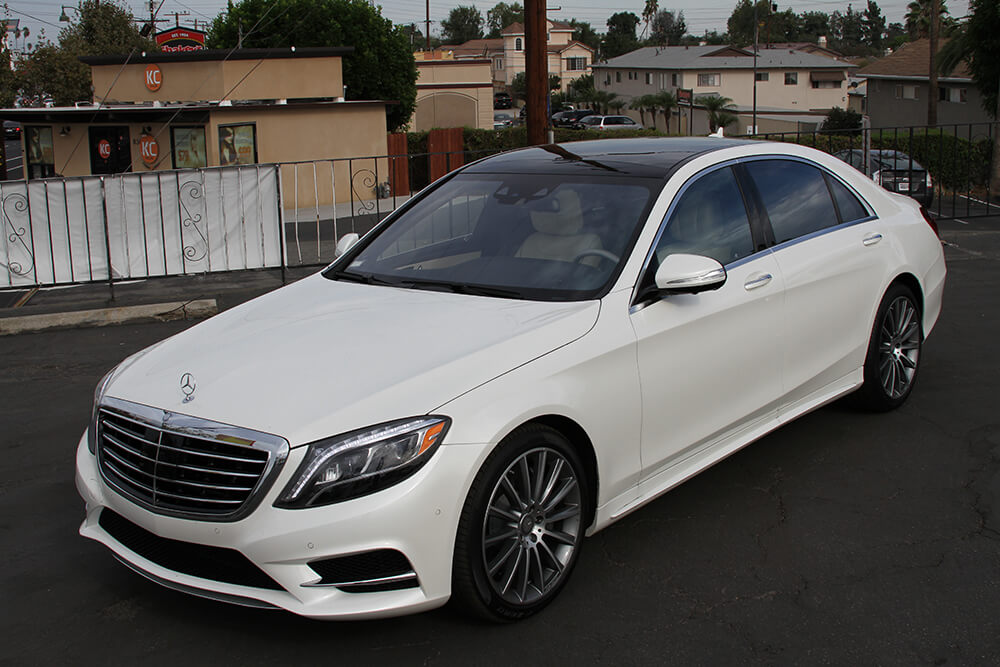 Mercedes Benz S550 rental front view LA