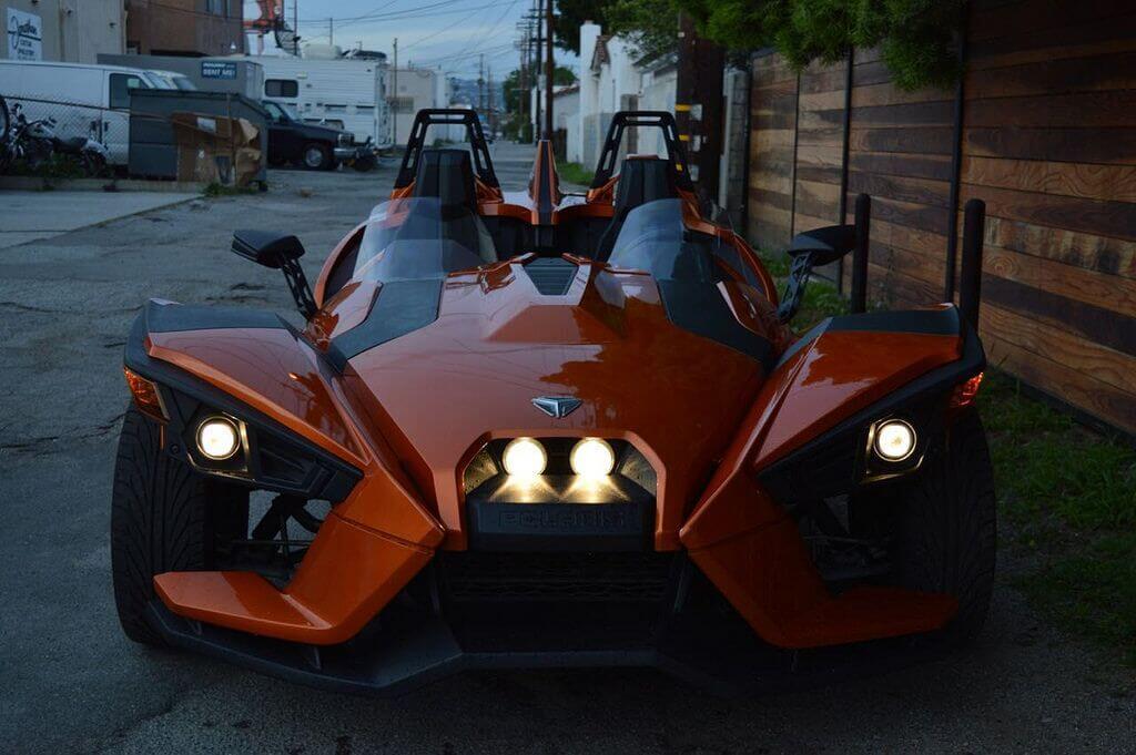 Polaris Slingshot Orange 777 Exotic Car Rental Los Angeles