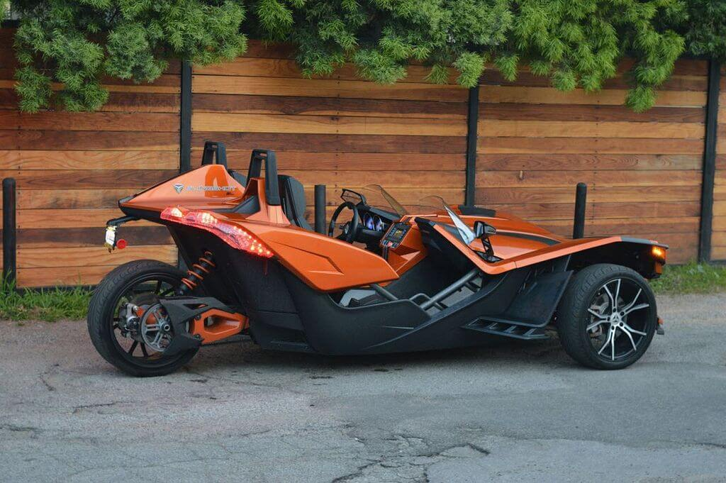 Polaris Slingshot Orange 777 Exotic Car Rental Los Angeles