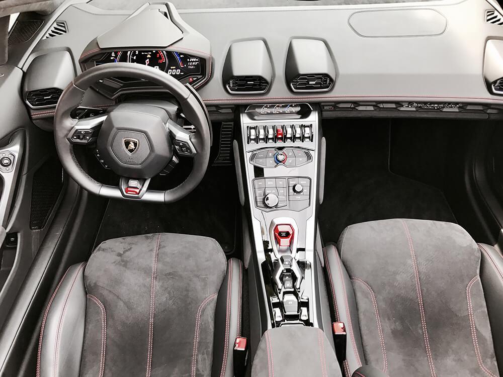 lamborghini huracan spyder white interior with steering wheel LA
