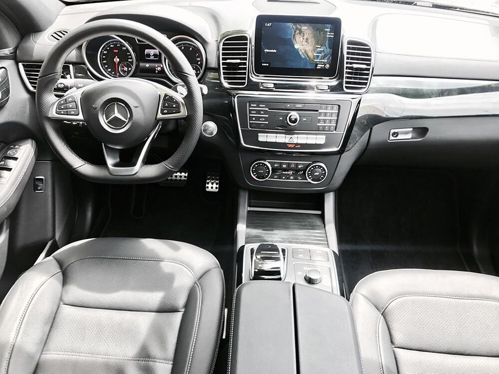 mercedes benz GLE AMG coupe rental front interior LA