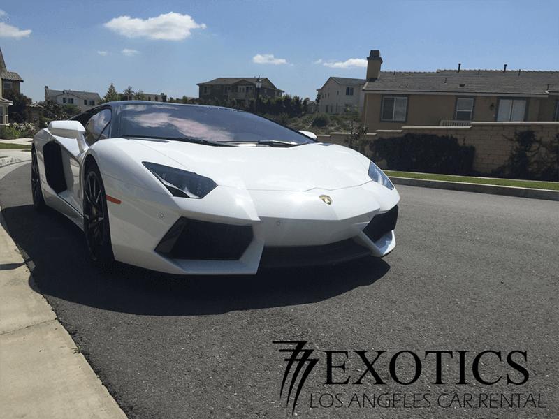 Lamborghini Aventador White diagonal front view la rental