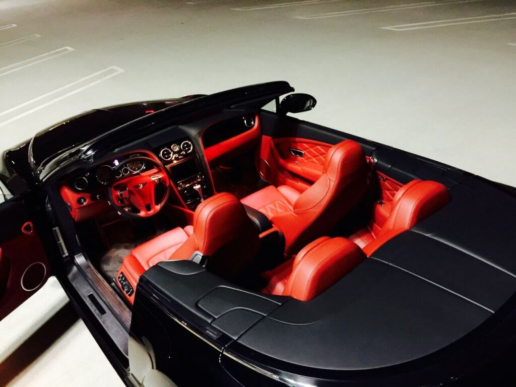 bentley continental gtc top interior view LA rental