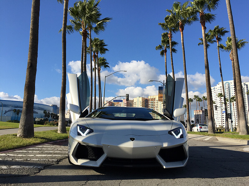 Lamborghini Aventador White front of car LA rental