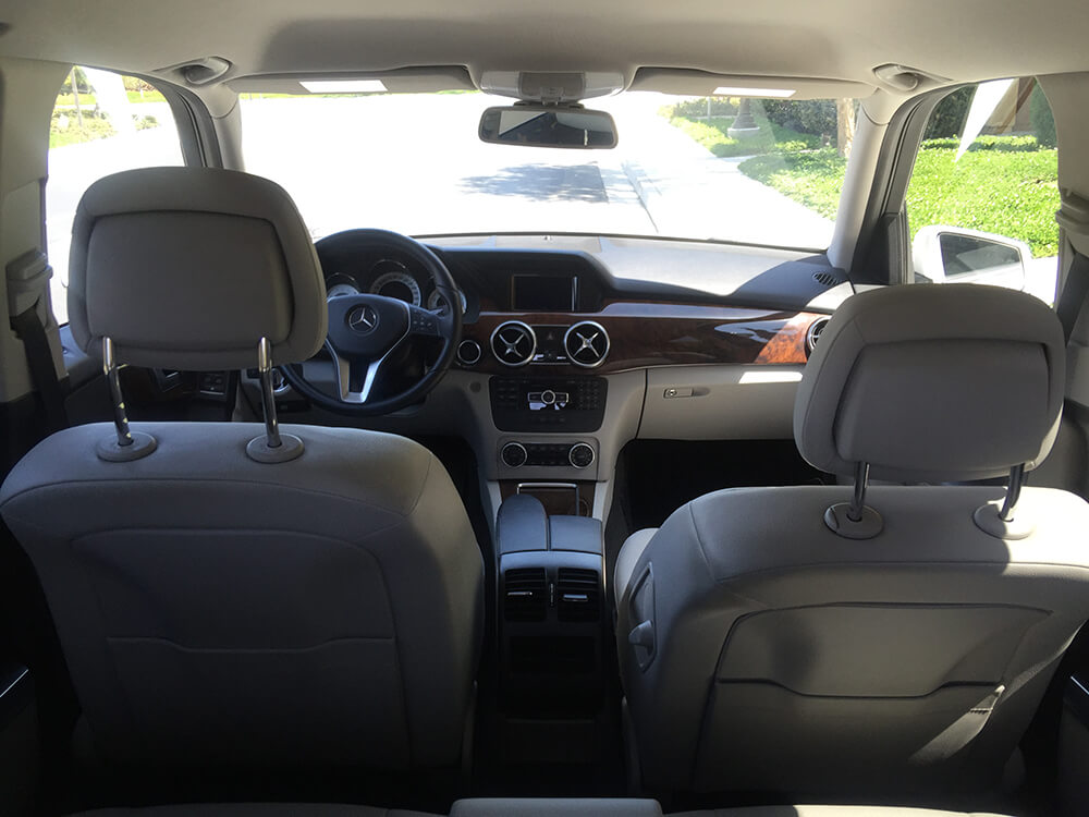 inside view of Mercedes Benz GLK 530 white rental Los Angeles