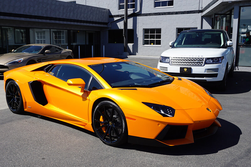 Lamborghini Aventador Light Orange front view LA rental