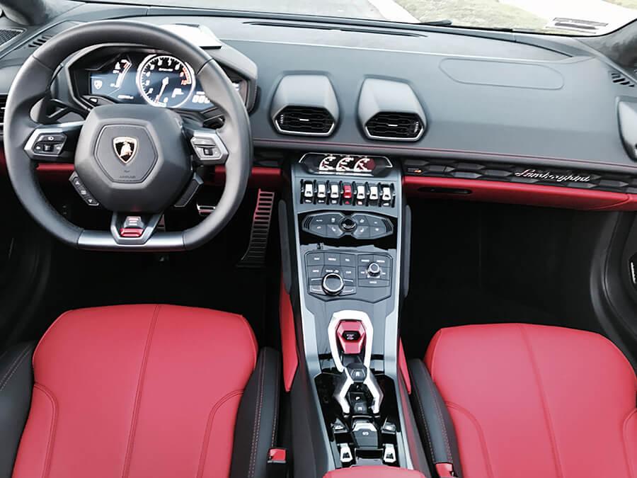Lamborghini Huracan Spider Grey front interior LA rental
