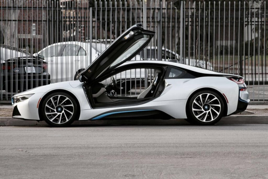 bmw i8 silver side view doors up LA rental