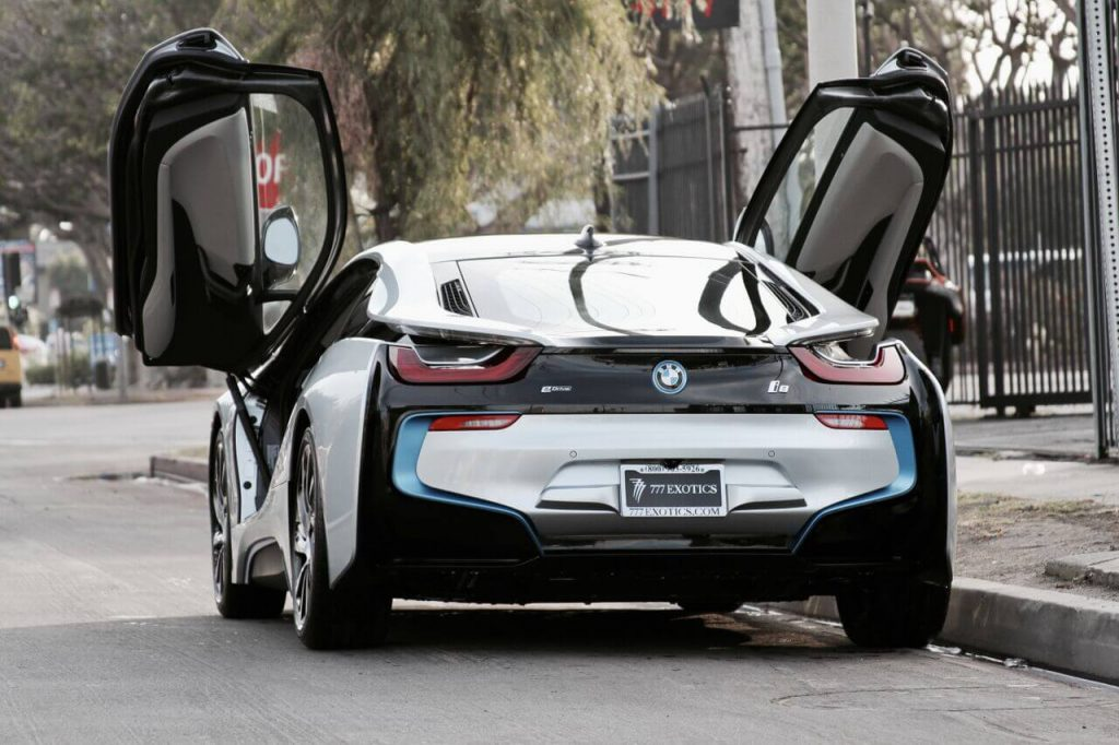 bmw i8 silver back view doors open LA rental