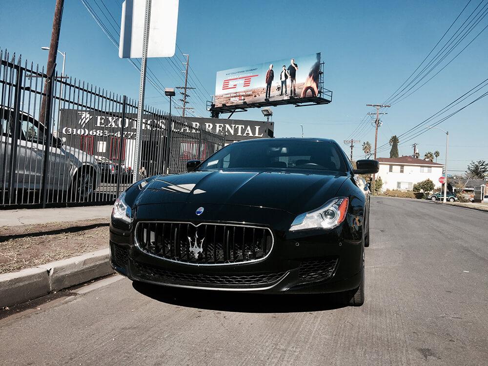 Maserati Q Black 777 Exotic Car Rental Los Angeles