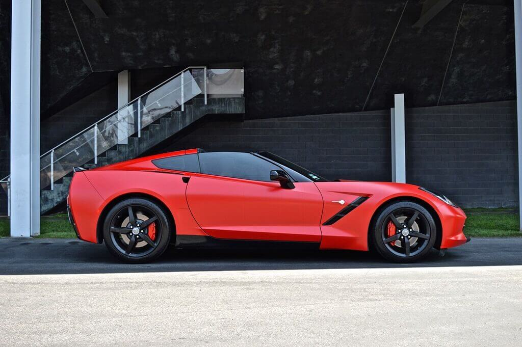 Red Chevy Corvette stingray rental side view LA