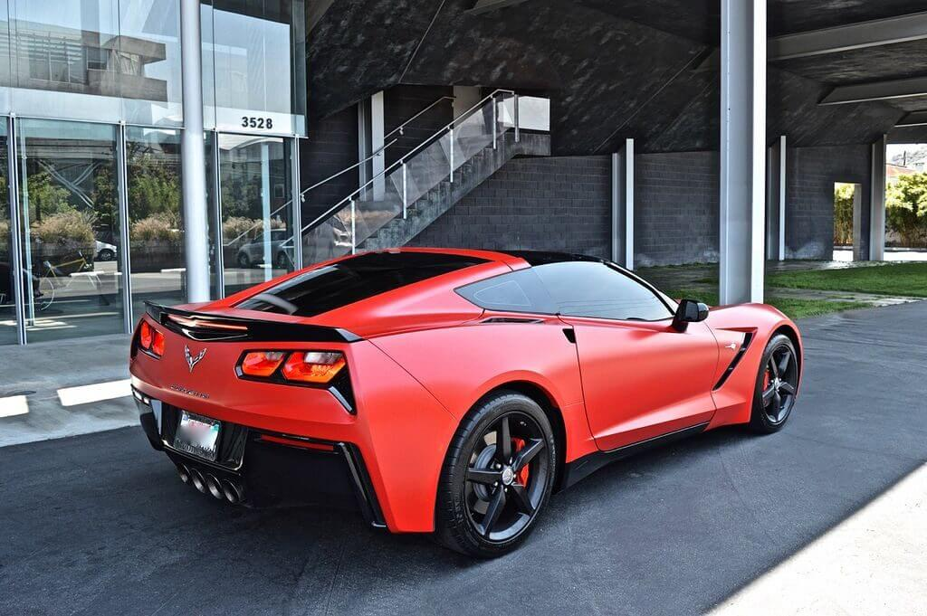 Red Chevy Corvette stingray rental back view LA