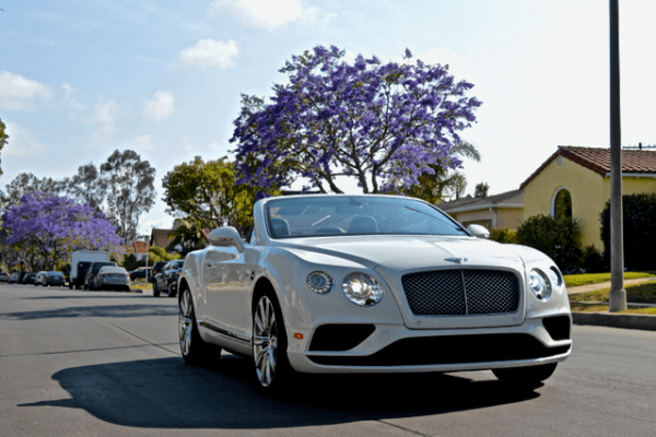 Top down Bentley rental white LA