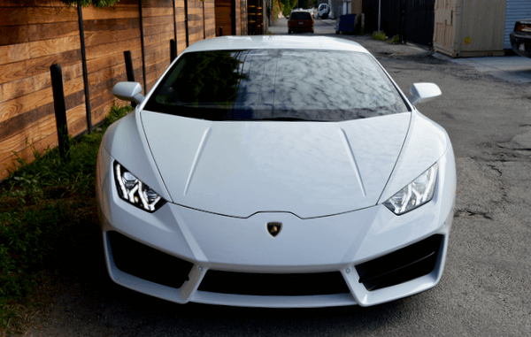 White rental Lamborghini Los Angeles